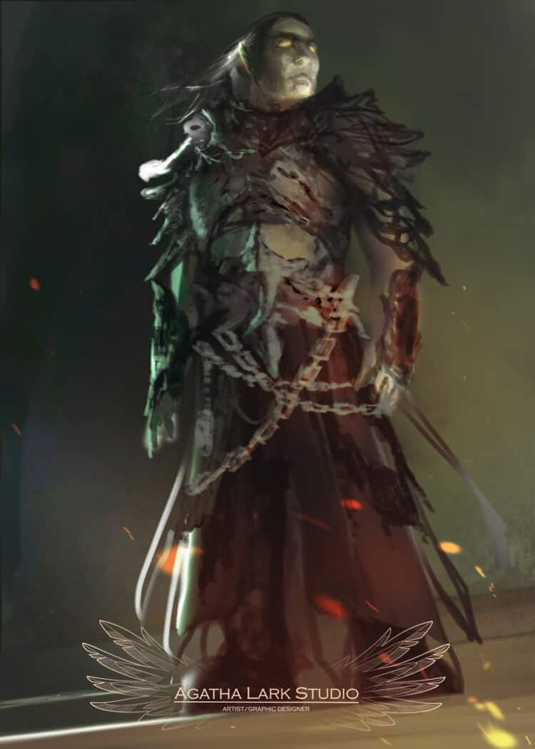 Grafika w stylu fantasy przedstawiająca maga bitewnego