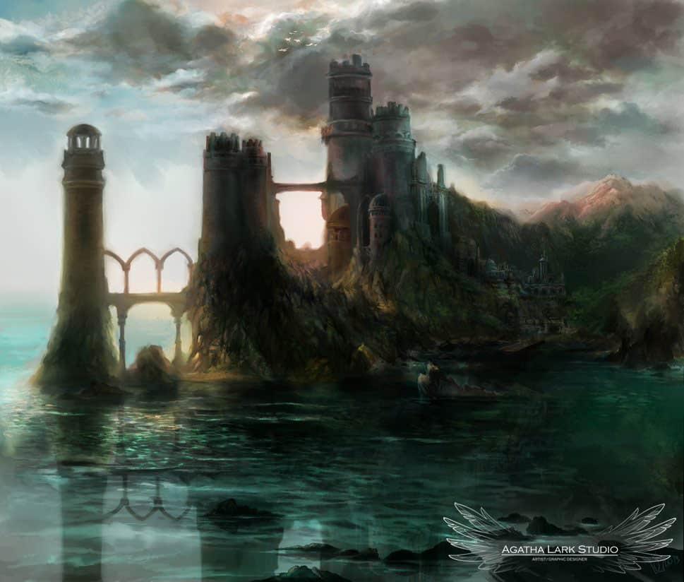 Grafika w stylu fantasy przedstawiająca zamek na skale