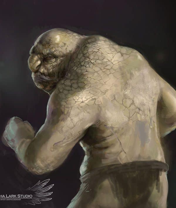 Grafika w stylu fantasy przedstawiająca golema