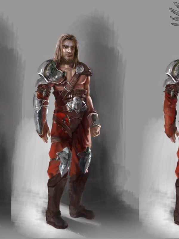 Grafika w stylu fantasy przedstawiająca koncept wojownika