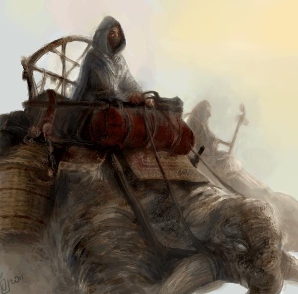 Grafika w stylu fantasy przedstawiające jazdę na pustynnym stworze