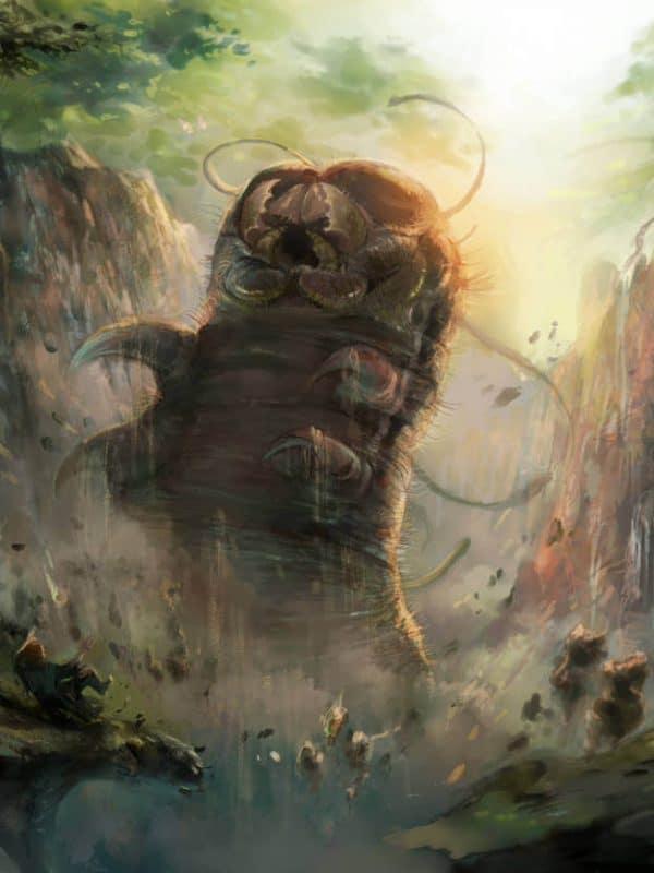 Grafika w stylu fantasy przedstawiająca olbrzymią gąsienicę