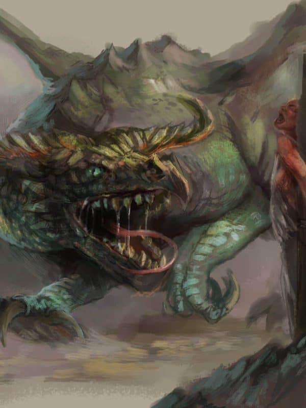 Grafika w stylu fantasy przedstawiająca smoka Wawel