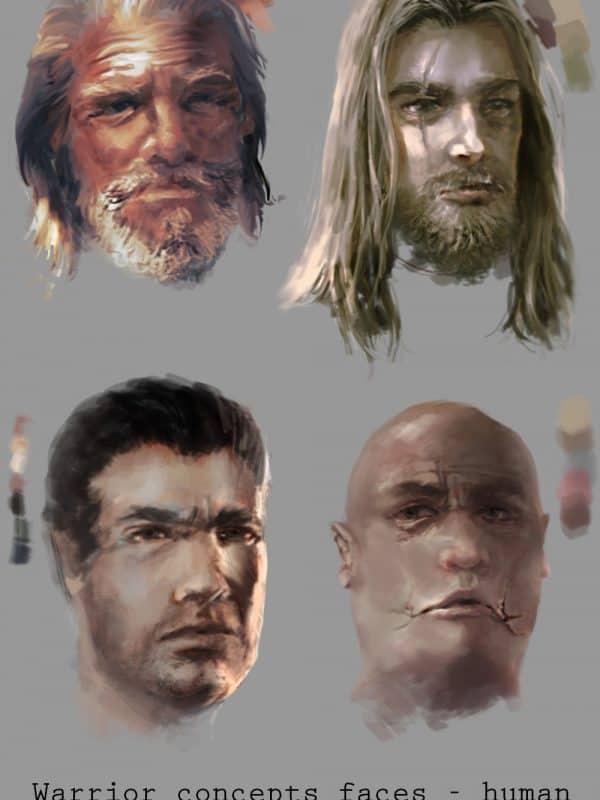 Concept art przedstawiający cztery twarze wojowników ludzi